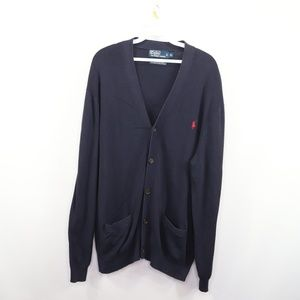 Polo Ralph Lauren Mens XL Cardigan Sweater Blue